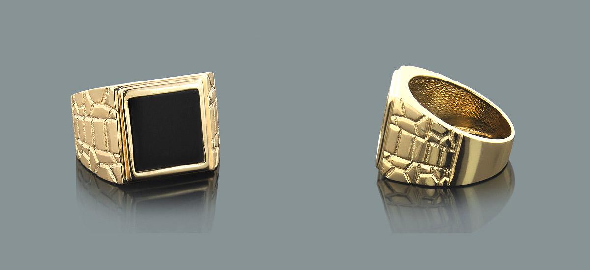 Ring Diamanten 14 K 585er Gelbgold Herrenring schwarzer Onyx Snakeskin Mein Schmuck24 Thomas Baecker