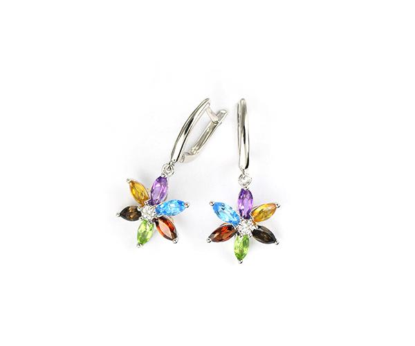 Echtschmuck Ohrringe Creolen Diamanten 585 Weißgold AAA Multicolor Edelsteine Mein Schmuck24 Thomas Baecker