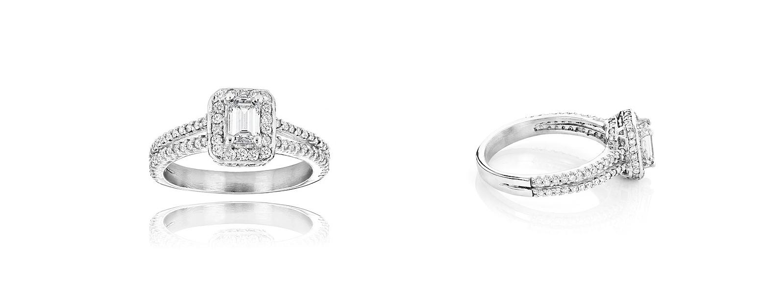 platinum diamond ring platin diamant im smaragdschliff 1 21 ct wesselton wei ebay. Black Bedroom Furniture Sets. Home Design Ideas