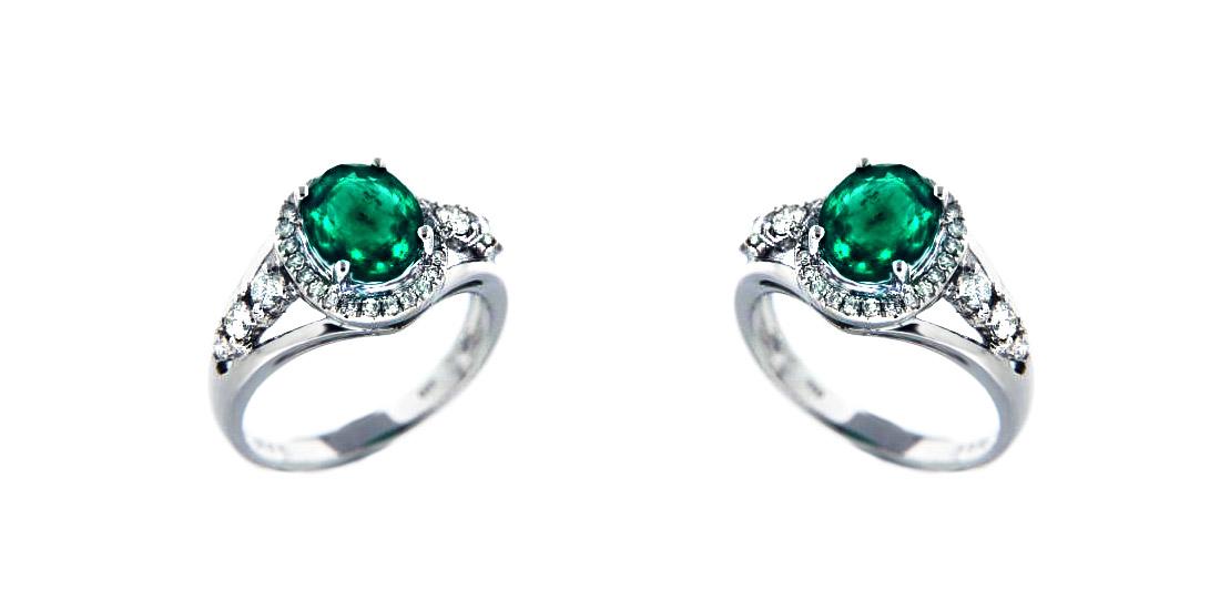 ring diamanten smaragd aaa 18 karat 750er wei gold 1 70 karat brillantring neu ebay. Black Bedroom Furniture Sets. Home Design Ideas